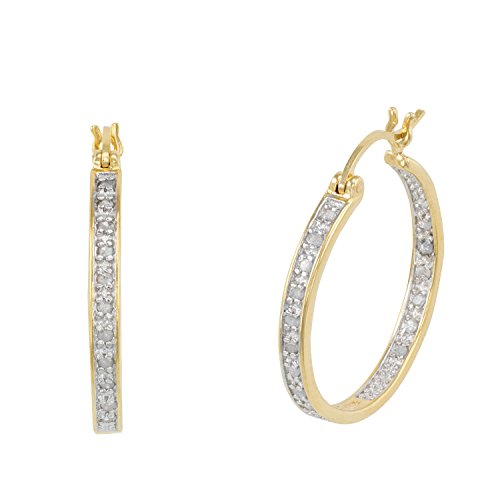 - JewelExclusive Sterling Silver 1/4cttw Natural Round-Cut Diamond (J-K Color, I2-I3 Clarity) Inside Out Click Top Hoop Two Tone Earring