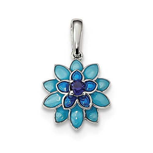 925 Sterling Silver Created Sapphire Enamel Flower Pendant Charm Necklace Gardening Fine Jewelry Gifts For Women For Her