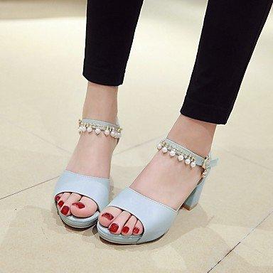 LvYuan Mujer Sandalias Semicuero PU Verano Otoño Paseo Perla de Imitación Tacón Robusto Beige Azul Rosa 5 - 7 cms Blue