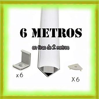 Perfil de aluminio para tira de LED con difusor opaco PACK 6 metros con soporte de montaje angular L,barra de aluminioled