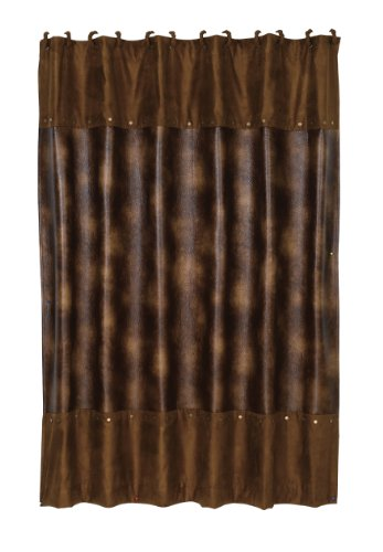 - HiEnd Accents Rustic Faux Leather Shower Curtain with Hooks