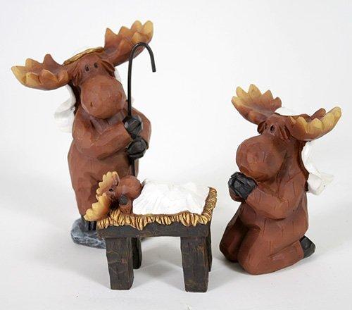 3 Piece Moose Holy Family Resin Nativity Set