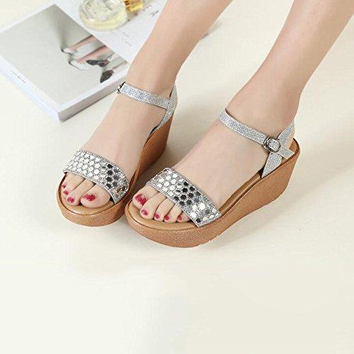 LIXIONG Portátil Silver / Gold Sandalias de tacón alto de verano de moda femenina los (7cm) -Zapatos de moda ( Color : Oro , Tamaño : EU37/UK4-4.5/CN37 ) La Plata