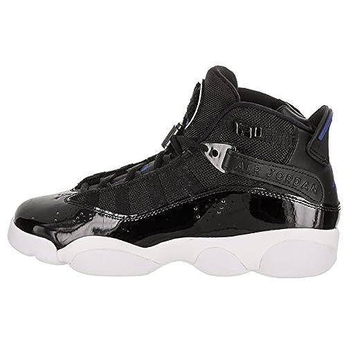 a78e552cdde163 Jordan Nike Kids 6 Rings BG Black Hyper Royal White Basketball Shoe 5 Kids  US