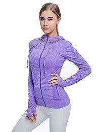 FITIBEST Women's Full Zip Hoodie Sports Slim Fit Yoga Running Jacket