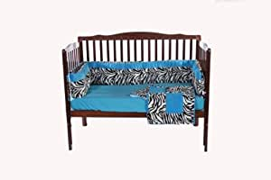 Baby Doll Bedding Crib Bedding Set with Bumper, Blue