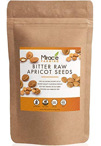 Bitter Apricot Seeds/Kernels (1lb) 16oz, California USA Grown, Pesticide and Herbicide-Free, Non GMO, Vegan, Raw & Large, The Best Natural Source of Vitamin B17, In an Easy Resealable Pouch