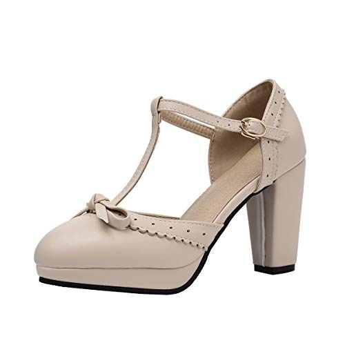 Women Lolita T-Strap Bowtie Pumps Bow Platform Heels Shoes Cut Out Ankle Strap Vintage Perforated Mary Janes Cute Leather Gothic Court Shoes Mid Heel Beige