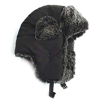 City Hunter Trapper Bomber Cap Hat Faux Fur,Black,One size