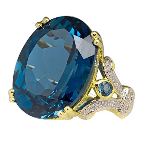 Women's Round Onyx Crystal Ring- Rhinestone Jewelry Filled Wire Wrapped Wedding Ring Girls Band Size6-10 (Blue, ()
