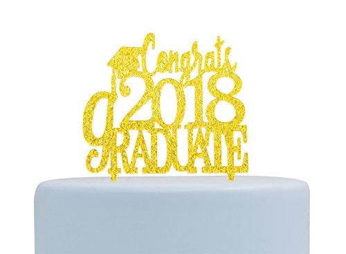 Graduate Cake Topper - Congrats 2018 Graduate Gold Acrylic Cake Topper,Graduation Cake Topper