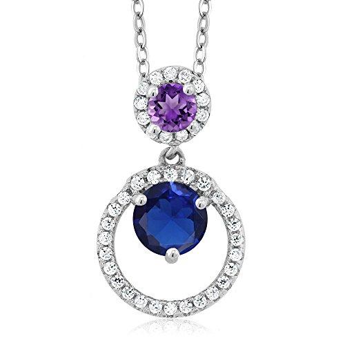 1.59 Ct Round Blue Simulated Sapphire Purple Amethyst 925 Silver Pendant (Sapphire Round Purple)