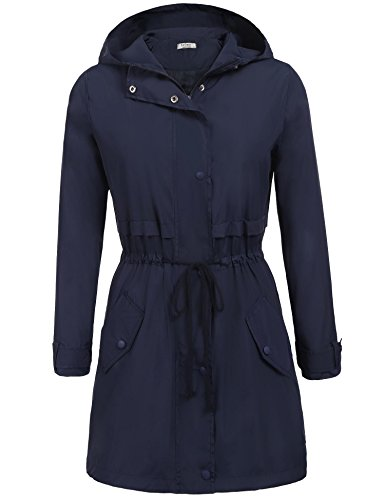soteer Womens Casual Lightweight Waterproof Rain Jacket Long Sleeve Hooded Raincoat Outerwear Navy Blue 1