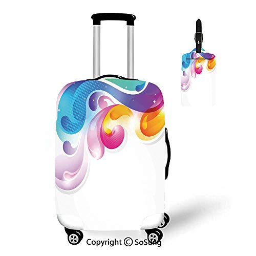 Colorful Home Decor 3D Printed Luggage Cover & Luggage Tag,Fit for 27-30