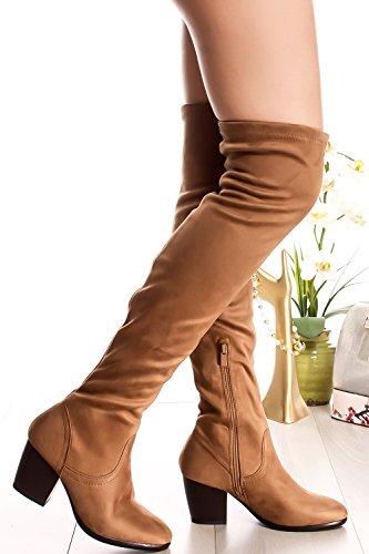 Lolli Couture Unga Högt Blommig Spets Utforma Tillbaka Dragkedja Peep Toe Front Spets Över Knäet Plattform Hög Klack Stövlar Tan-ås-36