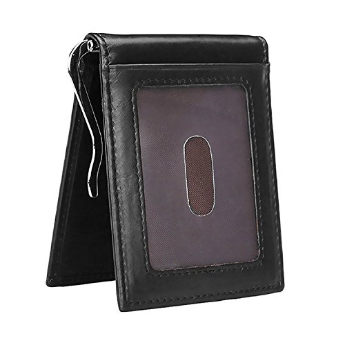 42a21b8e76e0 Onstro RFID Blocking Slim Wallet for Men Money Clip Bifold Grain Leather  Front Pocket
