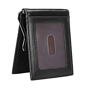Onstro Slim Wallet for Men Money Clip RFID Blocking Bifold Grain Leather Front Pocket Wallet