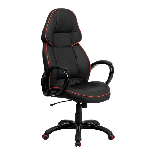 Offex OF-CH-CX0248H01-VEN-GG High Back Black Vinyl Executive Office Chair with Red Pipeline Border - Executive Black Red Border
