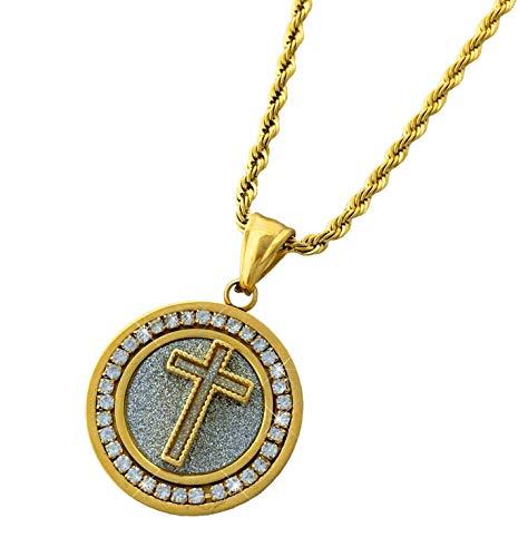 Cross Medallion Pendant - Diamond Framed Mini Medallion Pendant Stainless Steel Necklace with 24