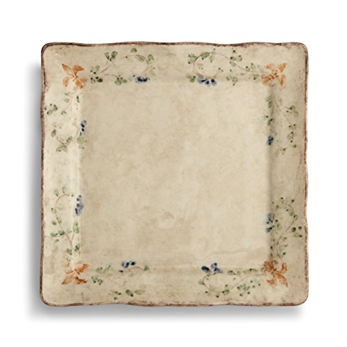 Square Green Charger Plates - Arte Italica Medici Square Charger Plate, Cream