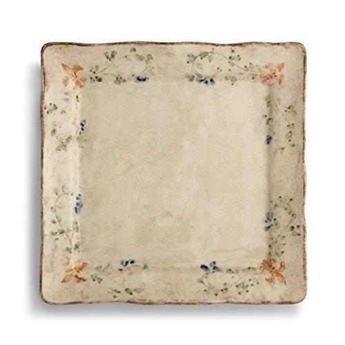 Plates Charger Square Green - Arte Italica Medici Square Charger Plate, Cream