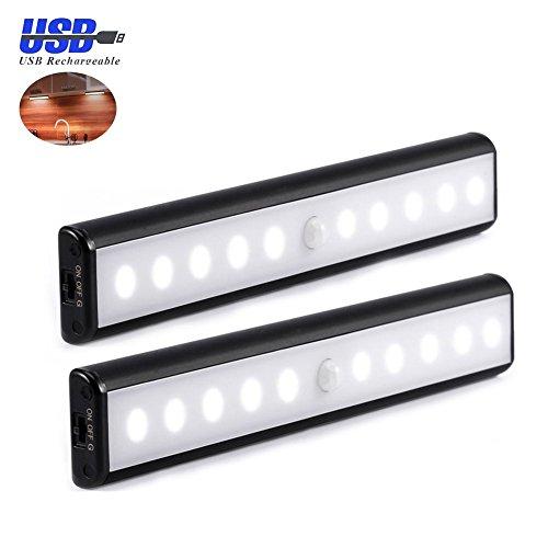 AIGUMI Cupboard Light, 2 Pack 10 LED Wardrobe Motion Sens...