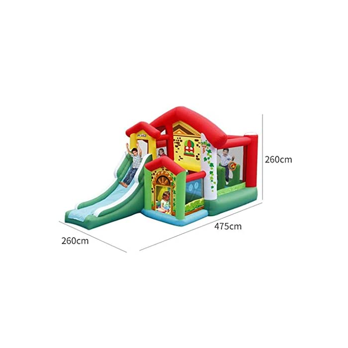 41C7tJeSCaL El castillo inflable para niños tiene una gran capacidad de carga, puede acomodar a 4-6 niños al mismo tiempo para jugar al mismo tiempo e incluso puede acomodar a más niños, para que los niños puedan aumentar la interacción con otros niños, más sanos y felices al crecer. El castillo inflable para niños se puede usar en interiores, sala de estar o dormitorio, y se puede usar en exteriores, jardines, parques, jardines de infantes, parques infantiles, salidas al aire libre y otros lugares, lo que es muy conveniente, mientras que también es muy conveniente para el almacenamiento. gratis. El castillo inflable está hecho de material oxford ecológico de alta calidad. La parte inferior es de diseño grueso y antideslizante, resistente al desgaste, flexible y tiene una mayor fuerza de rebote. Al mismo tiempo, se agrega la protección de seguridad de la barra lateral y de aumento para que sus hijos jueguen.
