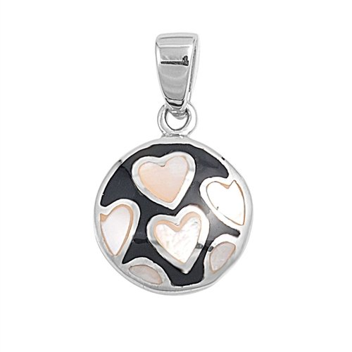 Joyara - Collier Femme Argent Fin 925/1000 Nacre De Perle Noir Onyx Coeur (Vient avec une chaîne de 45 CM)