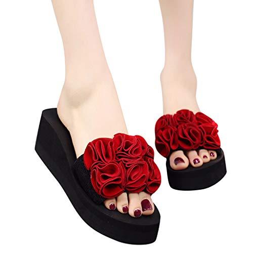 9b1b9e79e BSGSH Womens Slides, Women Grils Flower Flip Flop Soft Flat Slip On Slide  Sandals (