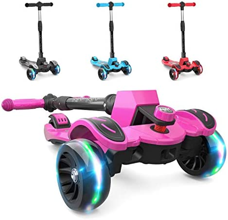 6KU Kids Kick Scooter with Adjustable Height, Lean to Steer, Flashing Wheels for Children 3-8 Years Old Pink Renewed