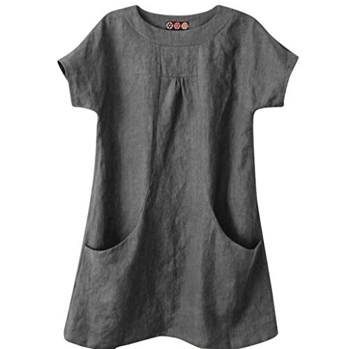〓COOlCCI〓Women's Casual Linen Round Neck Short Sleeve Tops Blouses with Pocket Loose Tops Blouses Shirt Tees Gray -