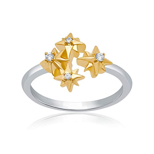 UNIVERSE FINE JEWELRY Diamond-Accent Two-Tone Star Quad Open Ring Inspired by Marvel's Captain Marvel ()