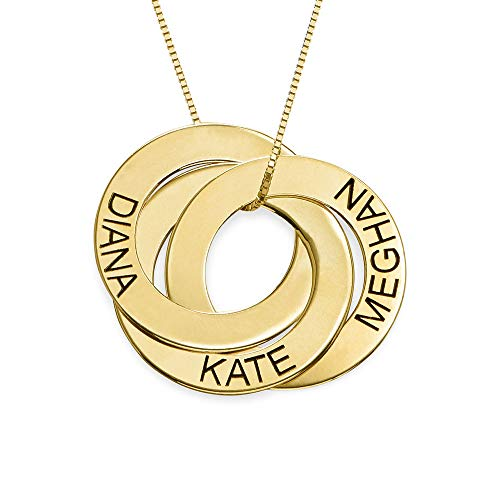 (MyNameNecklace Personalized Russian Ring Engraved Name Necklace - Personalized 3 Circles Disc Jewelry)