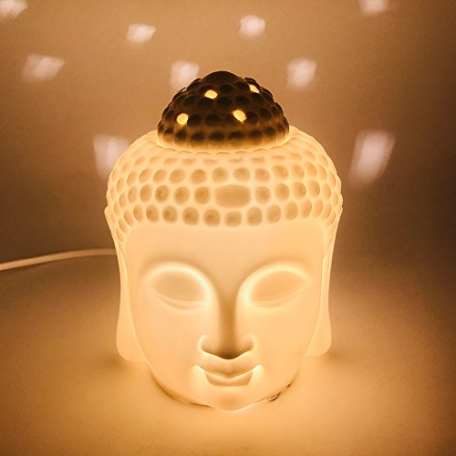 Porcelain Zen Buddha Head Statue Electronic Essential Oil Warmer / Scented Candle Tart Burner / Night Lamp for Aromatherapy, Spa, Sleep, Yoga, Home ()