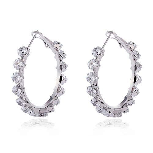 Zirconia Hoop Earrings for Women- YILIBAO (2019) Silver Plated Hoops Hypoallergenic Rhinestone Circle Earrings with Cubic Zirconia for Women Girls, Christmas, Valentines Day Jewelry Gifts