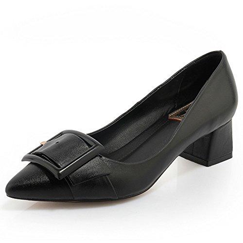 Nine Seven Cuero Puntiagudos Tacones de Vestir de Tacón Grueso con la Hebilla para Mujer negro