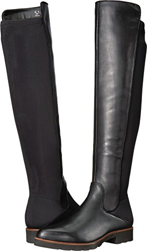 Franco Sarto Women's Benner Black Leather/Stretch Lycra 8.5 M US (Leather Franco Boots Sarto Women)