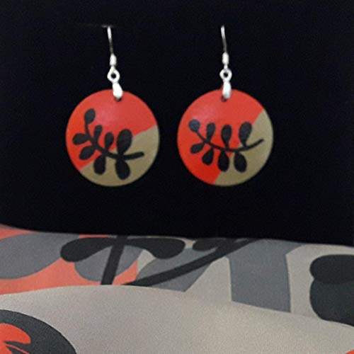 Wooden Dangle Earrings, Circle, Boho Hand Painted in Coral and Black, with Silver Hooks, Artistic Women Gift ()