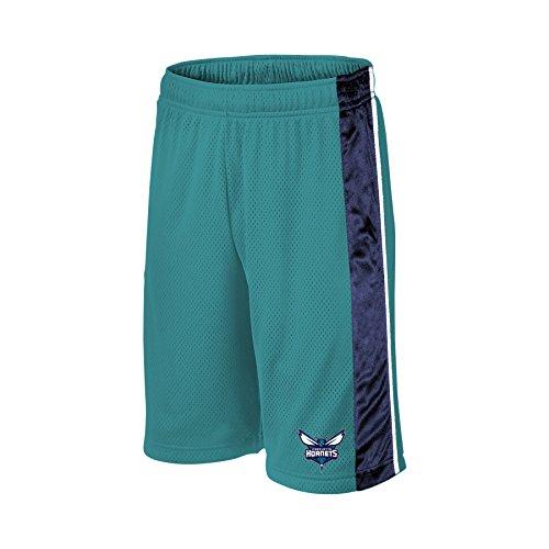 NBA Charlotte Hornets Children Unisex NBA Youth bar Stripe Poly Shorts,M,Teal/Dk Purple/White