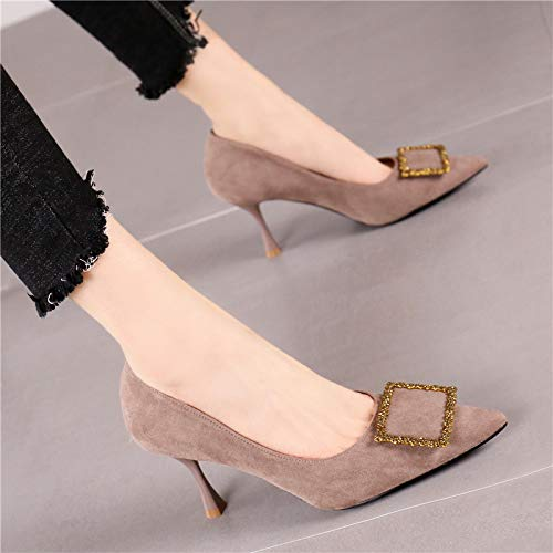 Comfortable Pointed A de Buckle Wild Metal Square Stiletto tacón Retro Shoes High zapatos Fashion Yukun Single Female alto Heels 5vXSUwXq