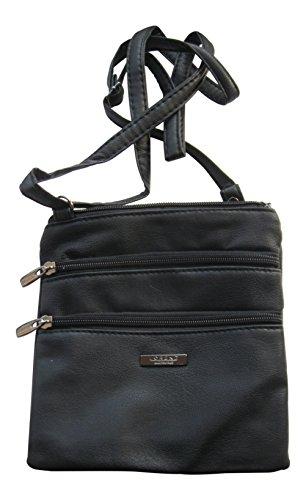 Elegante bolso bandolera - 2 compartimentos - Poliuretano - Negro - Pequeño Negro
