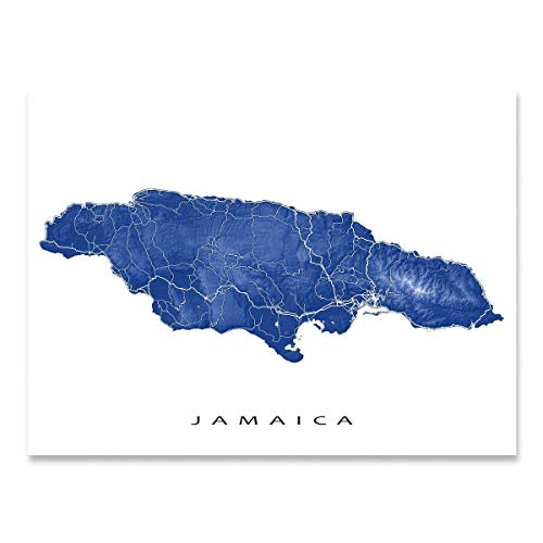 Jamaica Map Print, Tropical Caribbean Island, Street Art, Kingston, Negril, Montego Bay