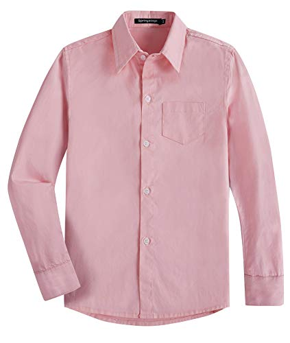 - Spring&Gege Boys' Long Sleeve Solid Formal Cotton Twill Dress Shirts Pink 11-12 Years