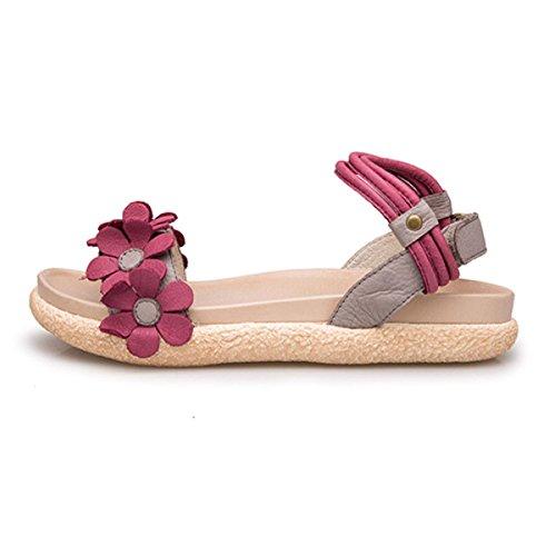 Kvindelige Sandaler Til Sommeren Nye Afslappet Læder Hjemmesko Mode Retro Flade Sko Vjigi0au