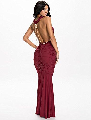 Neue Damen Wein Wasserfallkragen Halfter Kleid mit Kette Rückseite ...