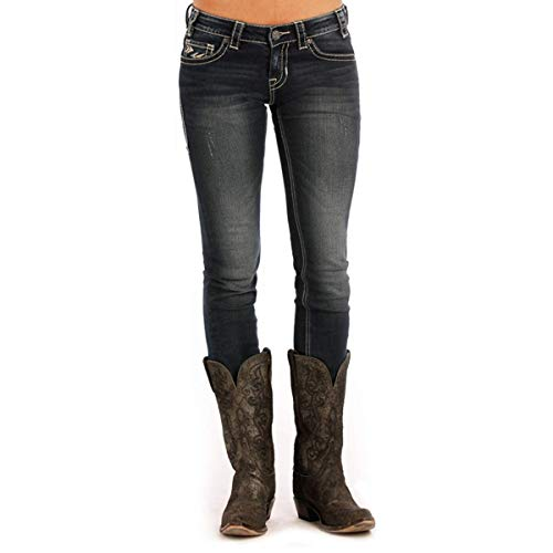 Rock & Roll Cowgirl Low-Rise Skinny Extra Stretch Aztec Jean (26x34) - W0S9641