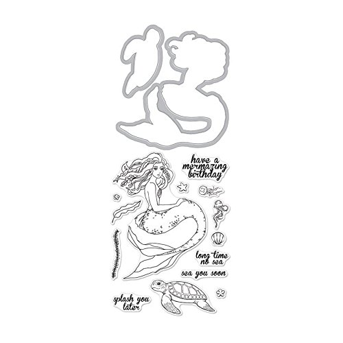 Hero Arts Stamp & Cut Set, Clear Stamps with Coordinating Frame Dies - Mermaid