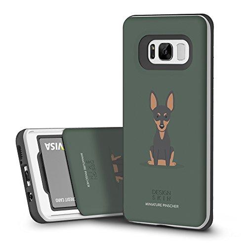 DesignSkin Slider Galaxy S8 Case with Slim Triple Layer Wallet Design Shockproof Bumper Cushion Card Slot Holder for Galaxy S8 Fashionable Smartphone Accessory Card Holder (Miniature Pinscher) ()