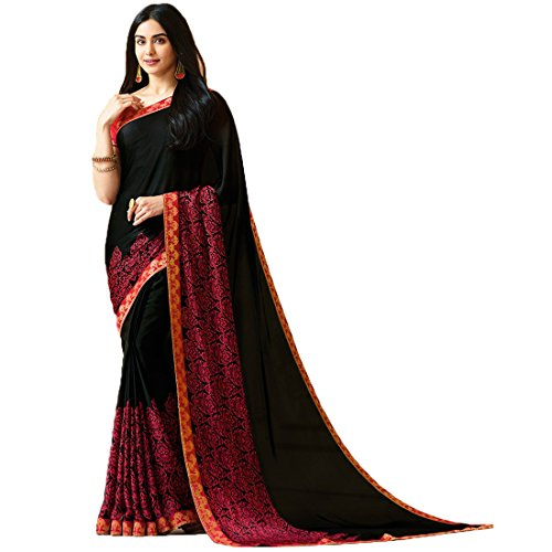 Mohit Creations Women's Partywear Printed Saree with Unstitched Blouse