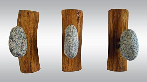 3 pcs Stone Hooks - Robe hanger - Coat Rack with Beach stones. Rock towel hangers. Smoothed Beach Stone Hook - Wall mounted solid wood coat rack